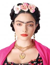 Parrucca trecce legate e fiori per donna
