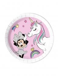 8 Piatti in cartone compostabile Minnie Unicorno™ 23 cm