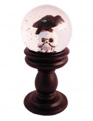 Palla di vetro con neve corvo e teschio 21 x 10 cm