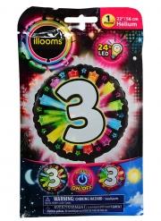 Palloncino rotondo numero 3 multicolore Led Illoms™ 50 cm