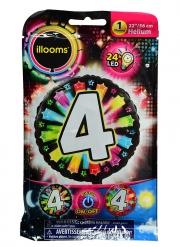 Palloncino rotondo numero 4 multicolore led Illoms™ 50 cm