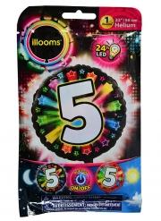 Palloncino alluminio cifra 5 multicolore LED Illooms™