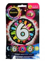 palloncino alluminio cifra 6 multicolore LED Illooms™