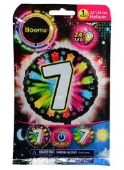 Palloncino alluminio cifra 7 multicolore LED Illooms™