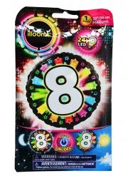 Palloncino alluminio cifra 8 multicolore LED Illoms™