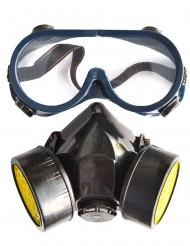 Kit occhiali e finta maschera a gas per adulto