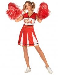 Costume ragazza pompom USA rosso per donna