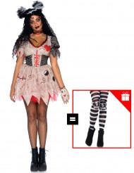 Costume da bambola vudu per donna con calze omaggio
