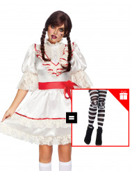 Costume bambola stregata per donna con calze omaggio