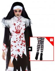 Costume suora assassina per donna con calze omaggio