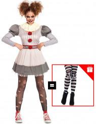 Costume da clown terrificante per donna con calze omaggio