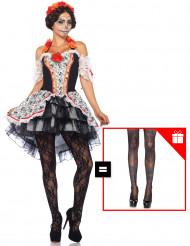 Costume dia de los muertos per donna con calze omaggio