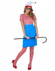 Costume da esploratrice a righe con calze per donna