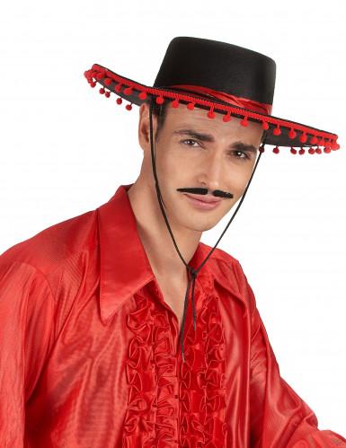 Cappello spagnolo nero e rosso-1