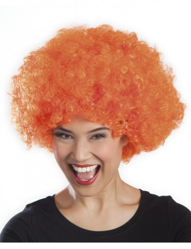 Parrucca afro disco clown arancione adulti-1
