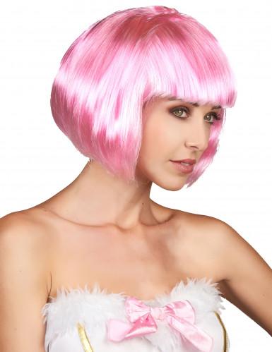 Parrucca corta rosa donna