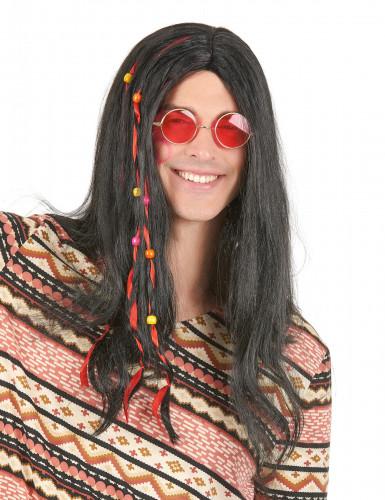 Parrucca da hippy nera adulti