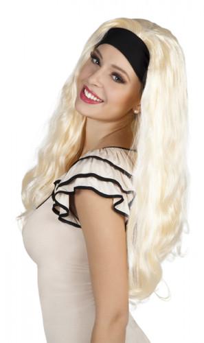 Parrucca bionda capelli lunghi con fascia donna