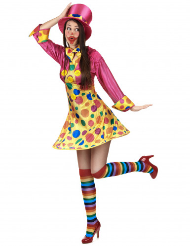 Costume clown donna con cappello rosa-1