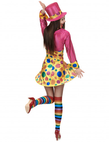 Costume clown donna con cappello rosa-2