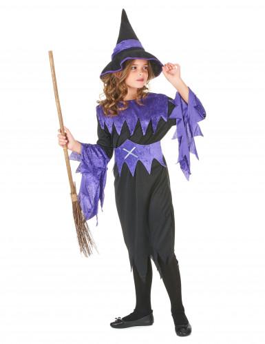 Costume streghetta viola bambina Halloween-1
