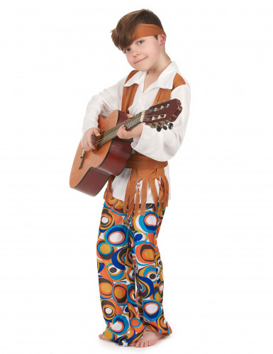 Costume hippie marrone bambino-1
