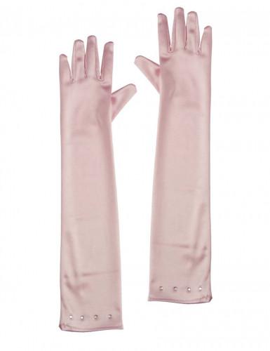 Guanti lunghi rosa bambina
