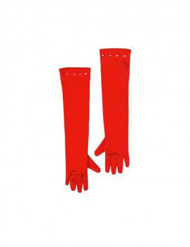 Guanti lunghi rossi bambina