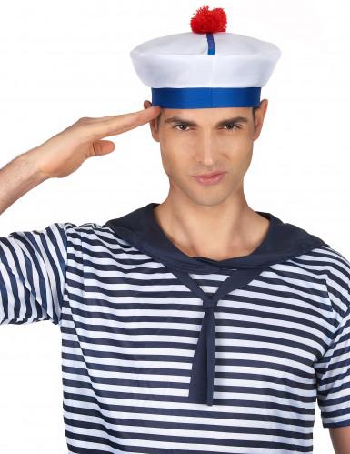 Cappello da marinaio con pompon per adulto-1