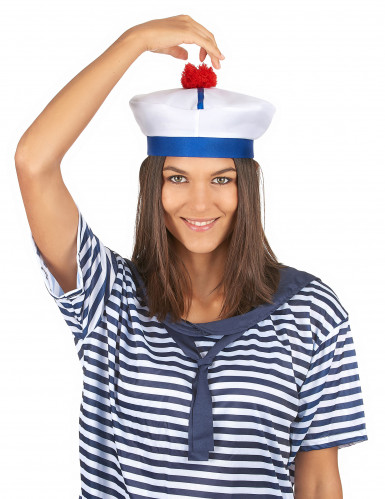 Cappello da marinaio con pompon per adulto-2