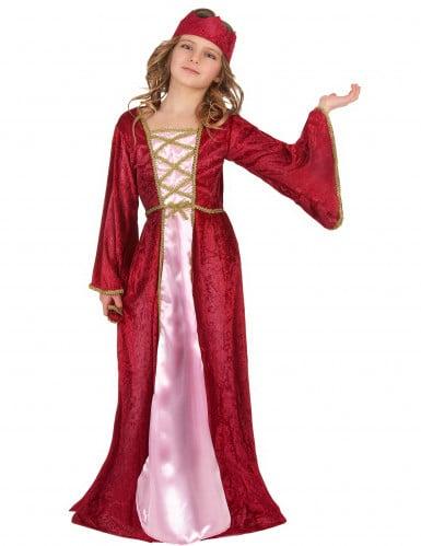 Costume regina medievale bambina effetto velluto