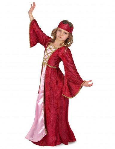 Costume regina medievale bambina effetto velluto-1