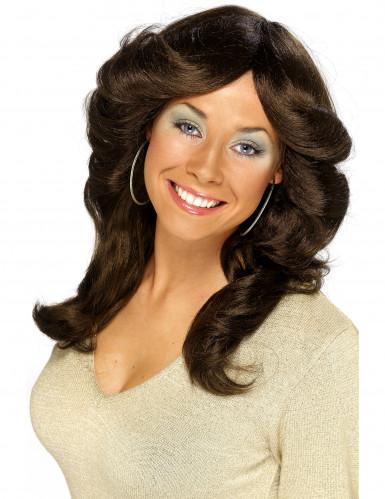 Parrucca marrone anni '70 donna