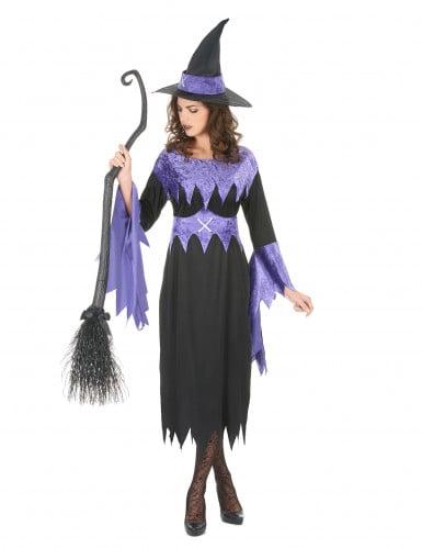 Costume da strega con orli viola per donna