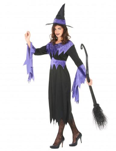 Costume da strega con orli viola per donna-1