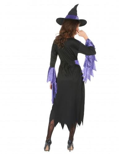 Costume da strega con orli viola per donna-2