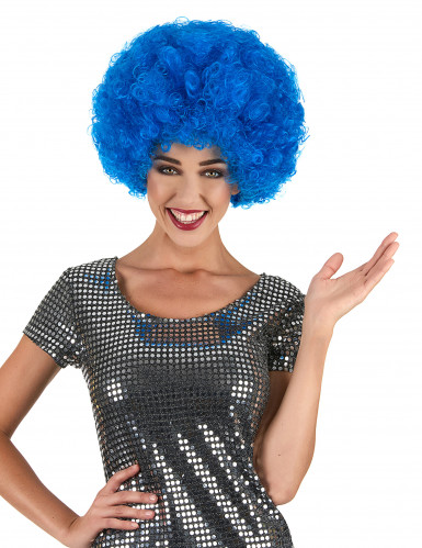 Parrucca afro disco clown blu confort adulto