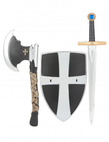 Scudo, spada e ascia da cavaliere medievale bambino