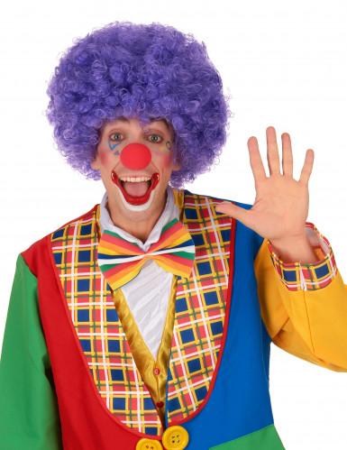 Parrucca afro/disco/clown viola confort adulto-1