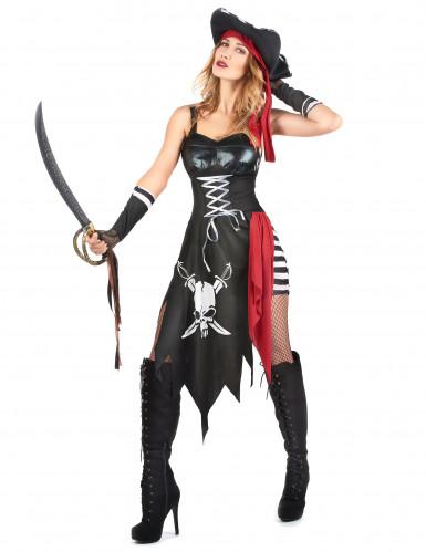 Costume pirata sexy con teschio da donna-1
