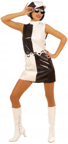 Costume anni '60 nero e bianco donna