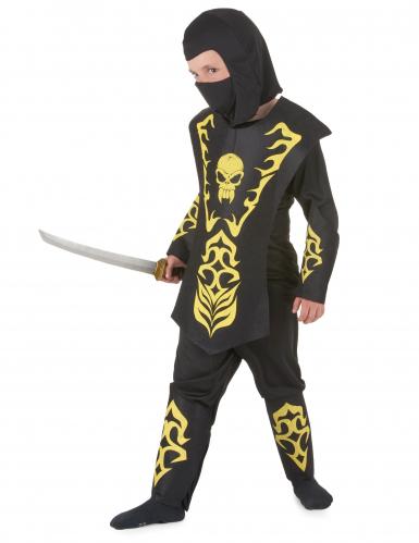 Costume ninja nero e giallo bambino-1