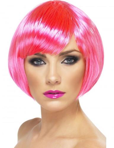 Parrucca rosa fluorescente a caschetto donna