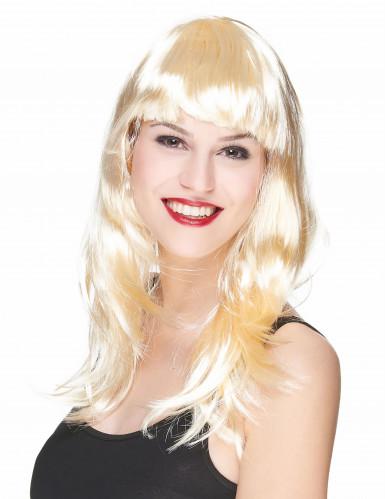 Parrucca bionda lunga donna con frangia