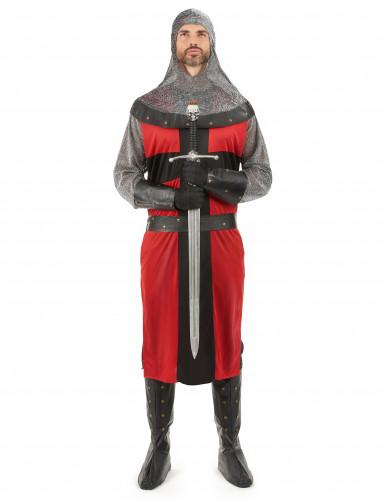 Costume da cavaliere del Medioevo rosso per adulto