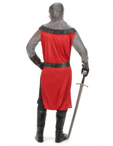 Costume da cavaliere del Medioevo rosso per adulto-2