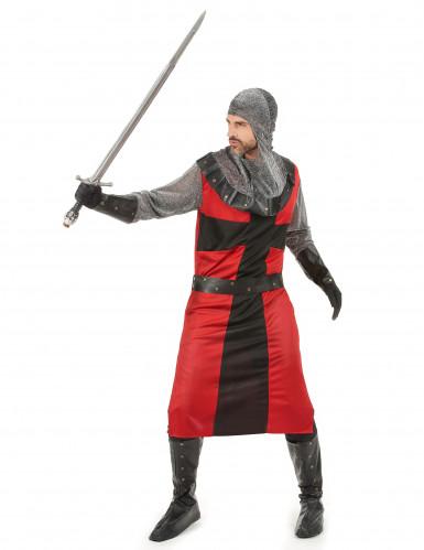 Costume da cavaliere del Medioevo rosso per adulto-1