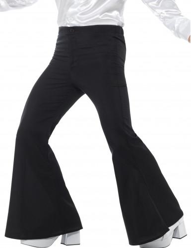 Pantaloni neri a zampa d'elefante disco uomo