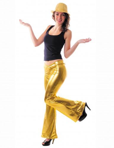 Pantaloni da disco in oro da donna