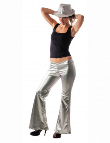 Pantaloni disco argentati donna